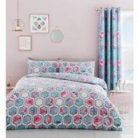Catherine Lansfield Hexagon Floral Duvet Set - Teal - Double - Green - Duvet Gifts