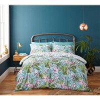 Catherine Lansfield Tropical Leaf Duvet Set - Green - Single - Green - Bedding Gifts