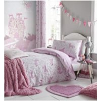 Catherine Lansfield Folk Unicorn Duvet Set - Pink - Double - Pink - Bedding Gifts
