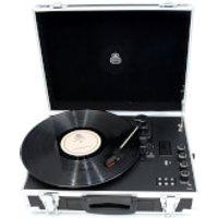 GPO Retro Flight Case 3-Speed Vinyl Turntable with Built-In Speakers - Black/Silver