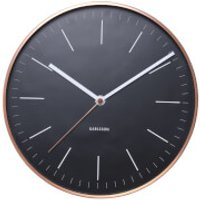 Karlsson Minimal Wall Clock - Black with Copper Case - Clock Gifts