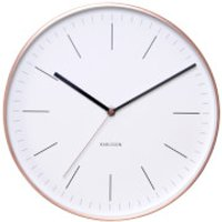 Karlsson Minimal Wall Clock - White with Copper Case - Clock Gifts