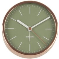 Karlsson Minimal Alarm Clock - Jungle Green with Copper Case