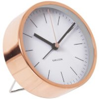 Karlsson Minimal Alarm Clock - White with Steel Copper Plated Case