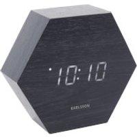 Karlsson Hexagon Alarm Clock - Black Veneer with White LED - Karlsson Gifts
