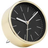 Karlsson Minimal Alarm Clock - Black with Shiny Gold Case - Shiny Gifts