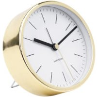 Karlsson Minimal Alarm Clock - White with Shiny Gold Case - Shiny Gifts