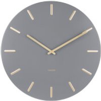Karlsson Charm Wall Clock - Grey with Gold Battons - Karlsson Gifts