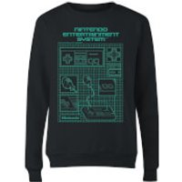 NES Controller Blueprint Black Women's Sweatshirt - Black - M - Black