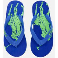 Polo Ralph Lauren Kids' Landry Flip Flops - Royal Heringbone/Lime - UK 10 Kids - Blue