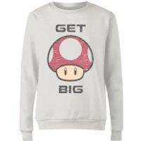 Nintendo Super Mario Get Big Mushroom Women's Sweatshirt - White - XXL - White - Mushroom Gifts
