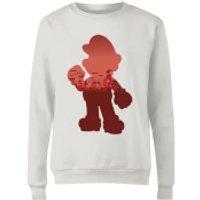 Nintendo Super Mario Mario Silhouette Women's Sweatshirt - White - XXL - White