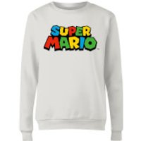 Nintendo Super Mario Colour Logo Womens Sweatshirt - White - M - White