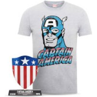 Marvel Captain America Men's T-Shirt and Shield Bundle - S
