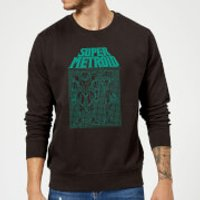 Nintendo Super Metroid Power Suit Blueprint Sweatshirt - Black - Black - XL - Black