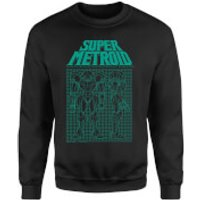 Nintendo Super Metroid Power Suit Blueprint Black Sweatshirt - Black - 3XL - Black