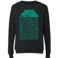 Nintendo Super Metroid Power Suit Blueprint Black Women's Sweatshirt - Black - M - Black