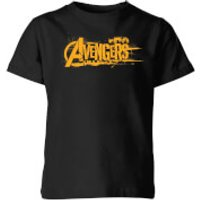 Marvel Avengers Infinity War Orange Logo Kids' T-Shirt - Black - 11-12 Years - Black - War Gifts