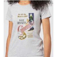 Disney Princess Cinderella Retro Poster Women's T-Shirt - Grey - M - Grey - Cinderella Gifts