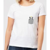 Stripey Panda Pocket Women's T-Shirt - White - L - White - Panda Gifts