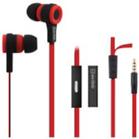 AV: Link Rubberised Tangle Free Cable Earphones with Mic - Red/Black - Headphones Gifts