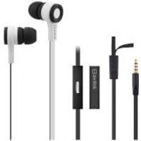 AV: Link Rubberised Tangle Free Cable Earphones with Mic - White - Earphones Gifts