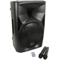 QTX QUEST-12 Bluetooth Portable PA System with 2 Wireless VHF Mics - Black