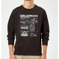 Back To The Future DeLorean Schematic Sweatshirt - Black - L - Black