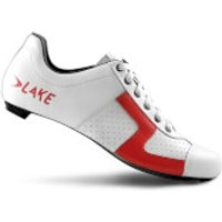 Lake CX1 Carbon Road Shoes - White/Red - EU 42/UK 8 - White/Red