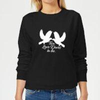 Two Love Doves Womens Sweatshirt - Black - 4XL - Black