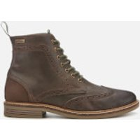 Barbour Mens Belsay Leather Brogue Lace Up Boots - Choco - UK 9
