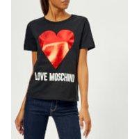 Love Moschino Womens Heart Logo T-Shirt - Black - IT 44/UK 12 - Black
