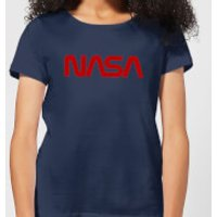 NASA Worm Red Logotype Women's T-Shirt - Navy - XXL - Navy