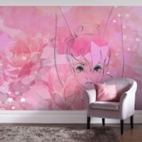 Disney Tinkerbell Watercolour Rose Wall Mural - Tinkerbell Gifts