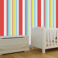 Disney Red Long Island Stripe Wallpaper