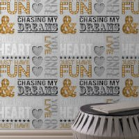 Fresco Typograph Gold/Grey Chasing Dreams Wallpaper