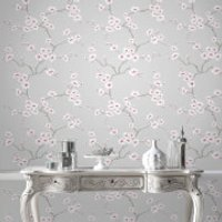 Fresco Grey/Pink Apple Blossom Floral Wallpaper - Apple Gifts