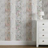 Fresco Natural Distressed Wood Floral Wallpaper