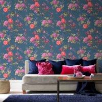 Fresco Oriental Blue/Multi Floral Wallpaper