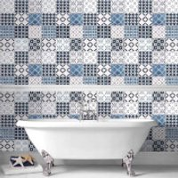 Contour Blue/White Porches Tiled Bathroom/Kitchen Wallpaper