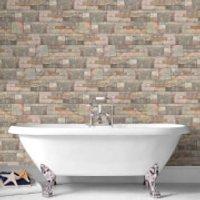 Contour Sandstone Tiled Bathroom/Kitchen Wallpaper
