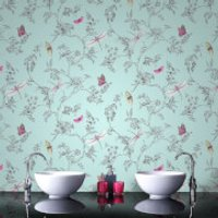 Superfresco Easy Duck Egg Nature Trail Floral Wallpaper - Duck Egg Gifts