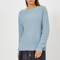MICHAEL MICHAEL KORS Women's Boatneck Button Sweater - Blue - S - Blue