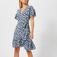 MICHAEL MICHAEL KORS Women's Mini Wrap Dress - True Navy - M - Blue
