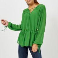 MICHAEL-MICHAEL-KORS-Womens-Lacing-Top-Green-M-Green