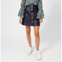 MICHAEL MICHAEL KORS Womens Leather A Line Skirt - Navy - US 2/UK 6 - Blue