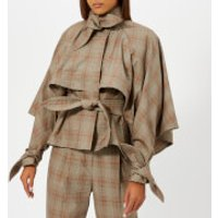 Zimmermann Women's Unbridled Cape Tie Jacket - Tan Check - 2/UK 12 - Grey