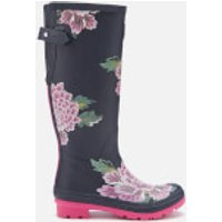 Joules Women's Welly Print Back Adjustable Tall Wellies - Navy Chinoise - UK 3 - Navy