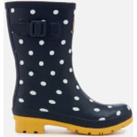 Joules Women's Molly Mid Height Wellies - French Navy Spot - UK 3 - Navy