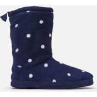Joules Women's Homestead Fleece Lined Slipper Socks - French Navy Spot - L - Navy